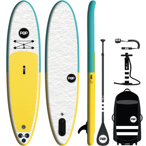 11' Turquoise/Yellow Inflatable Paddleboard-ISUP