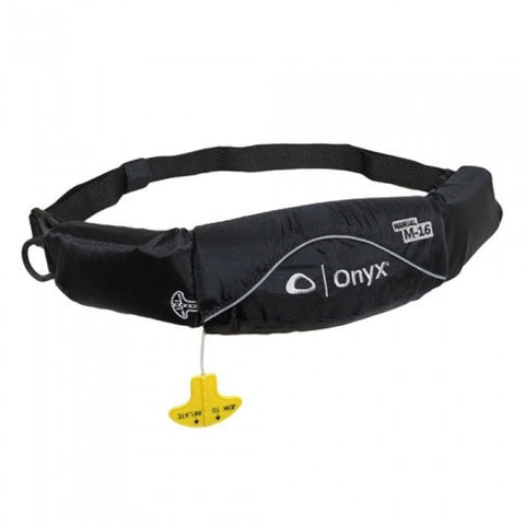 Onyx M-16 Manual Inflatable Belt Pack Life Jacket - Black ONX3516black__ - QuiverSports.com