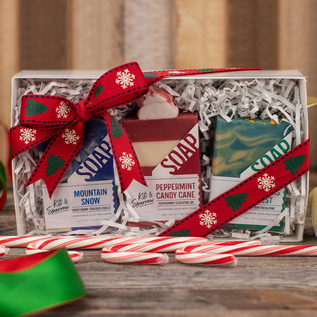 Goat Milk Soap Holiday Gift Box Red Ribbon with Christmas Trees and Snowflakes