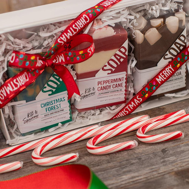 Goat Milk Soap Holiday Gift Box Merry Christmas with Christmas Lights
