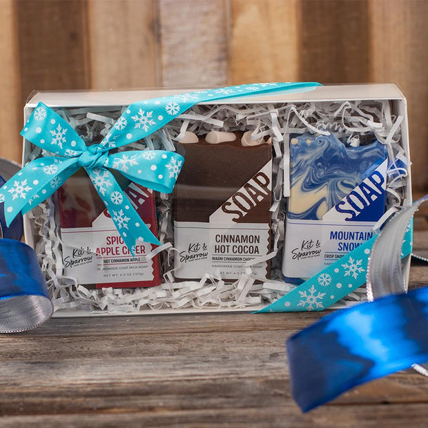 Goat Milk Soap Holiday Gift Box Blue Ribbon with Snowflakes