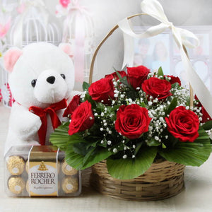Red Roses Basket And Cute Teddy With Ferrero Rocher Box