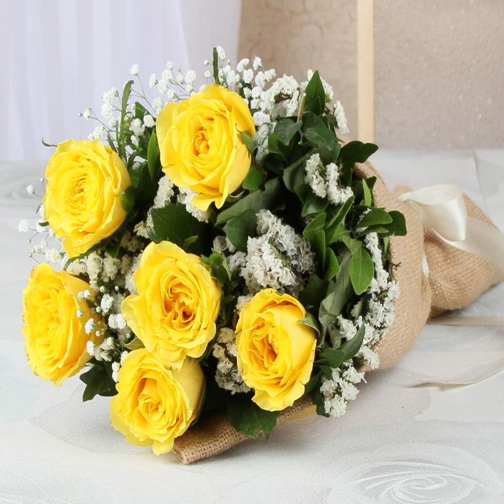 Bouquet Of Six Yellow Roses In Jute Wrapping