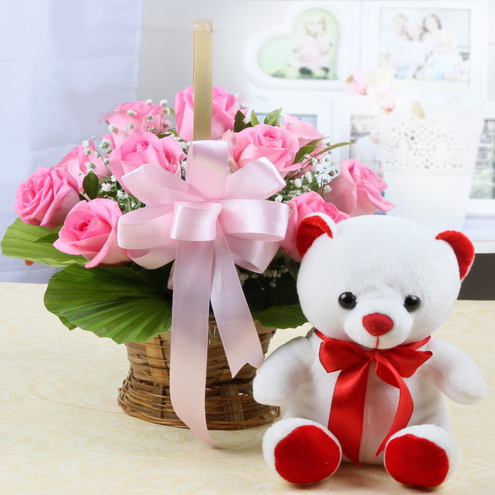 pink roses basket with cute teddy bear