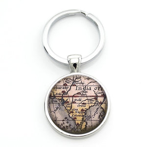 Other cool stuff trash panda finds vintage world city map keychain art picture glass cabochon dome jewelry gumiabroncs Gallery