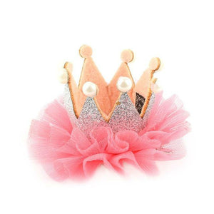 Girls crown princess hair clip - SILVER PINK