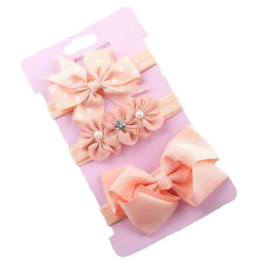 Girls elastic bow knot headbands 3 pack - PEACH
