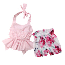 Load image into Gallery viewer, Halter neck floral outfit - (SIZES 0-3M & 3-6M)