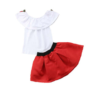 Off Shoulder Rose top and skirt (3YRS-6YRS)