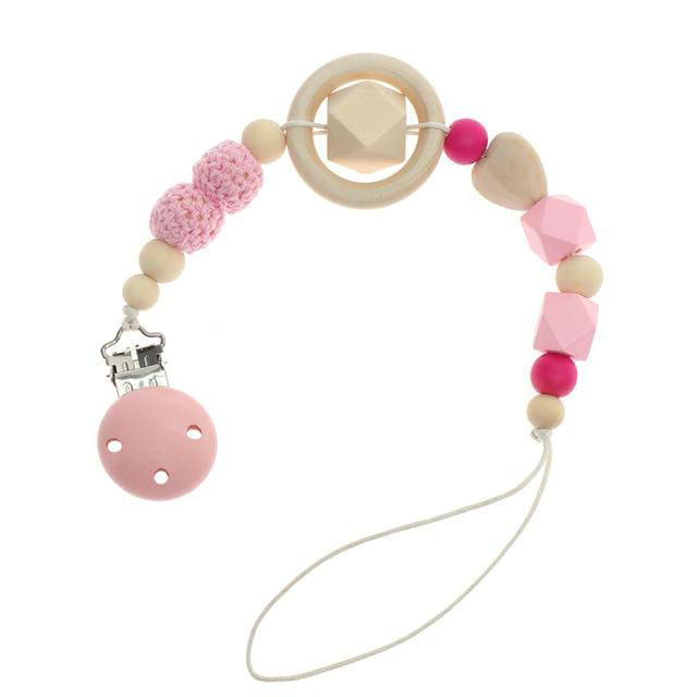 Baby dummy chain with clip - PINK