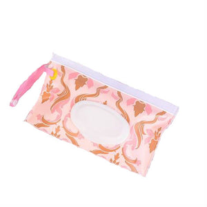 Reusable baby wipes travel case - PINK