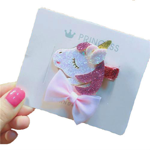 Unicorn and bow glitter hair clip
