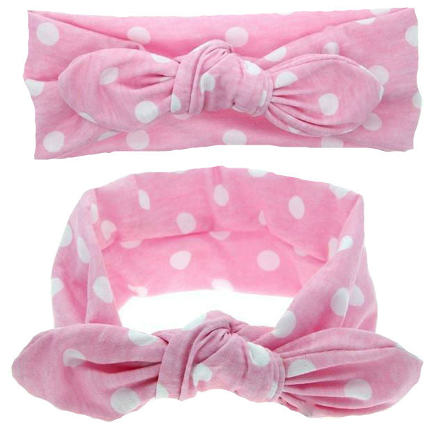 Girls polka dot print bow knot headband