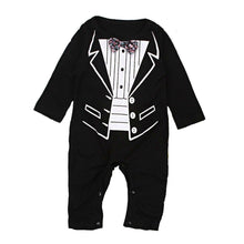 Load image into Gallery viewer, Baby tuxedo romper (0-24M)