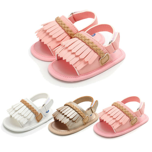 Girls summer tassel sandals - 3 COLOURS (0-18M)