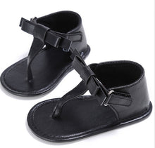 Load image into Gallery viewer, Baby soft sole bow sandals - BLACK (SIZE 7-12M)