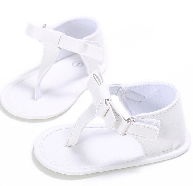 Baby soft sole bow sandals - WHITE (SIZE 7-12M)