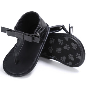 Baby soft sole bow sandals - BLACK (SIZE 7-12M)