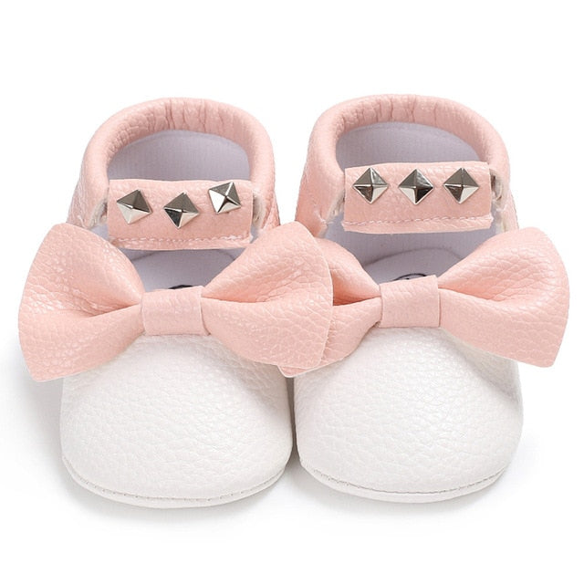 Baby bow sneakers - WHITE (SIZE 0-6M)