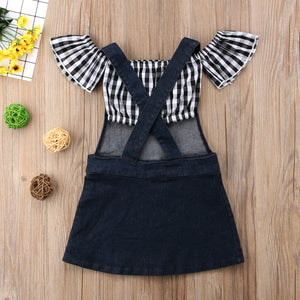Girls overall dress & crop top