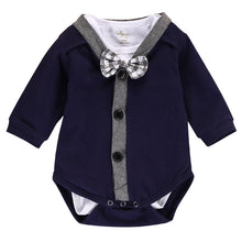 Load image into Gallery viewer, Boys bowtie & cardigan romper 2PCS (3M-18M)