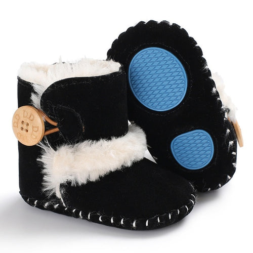 Baby furry button boots - BLACK (SIZE 0-6M)