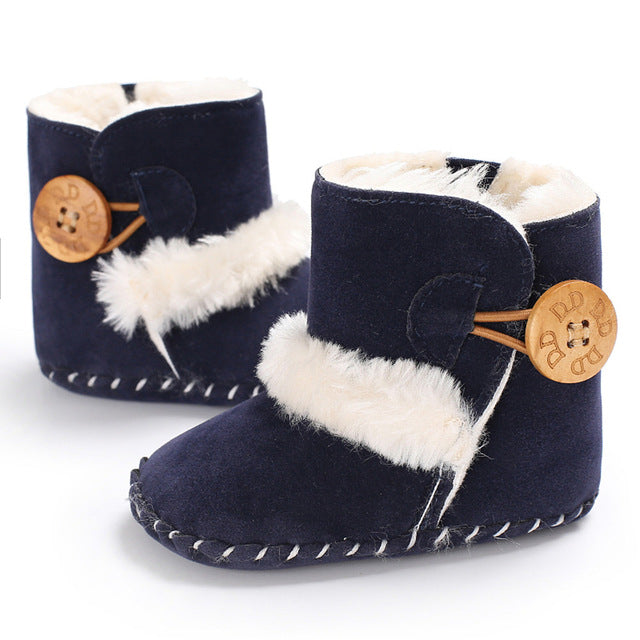 Baby furry button boots - NAVY BLUE (SIZE 0-6M)