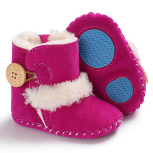 Baby furry button boots - ROSY PINK (SIZE 0-6M)