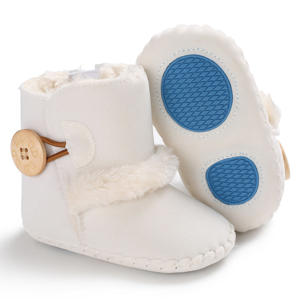 Baby furry button boots - WHITE (SIZE 0-6M)