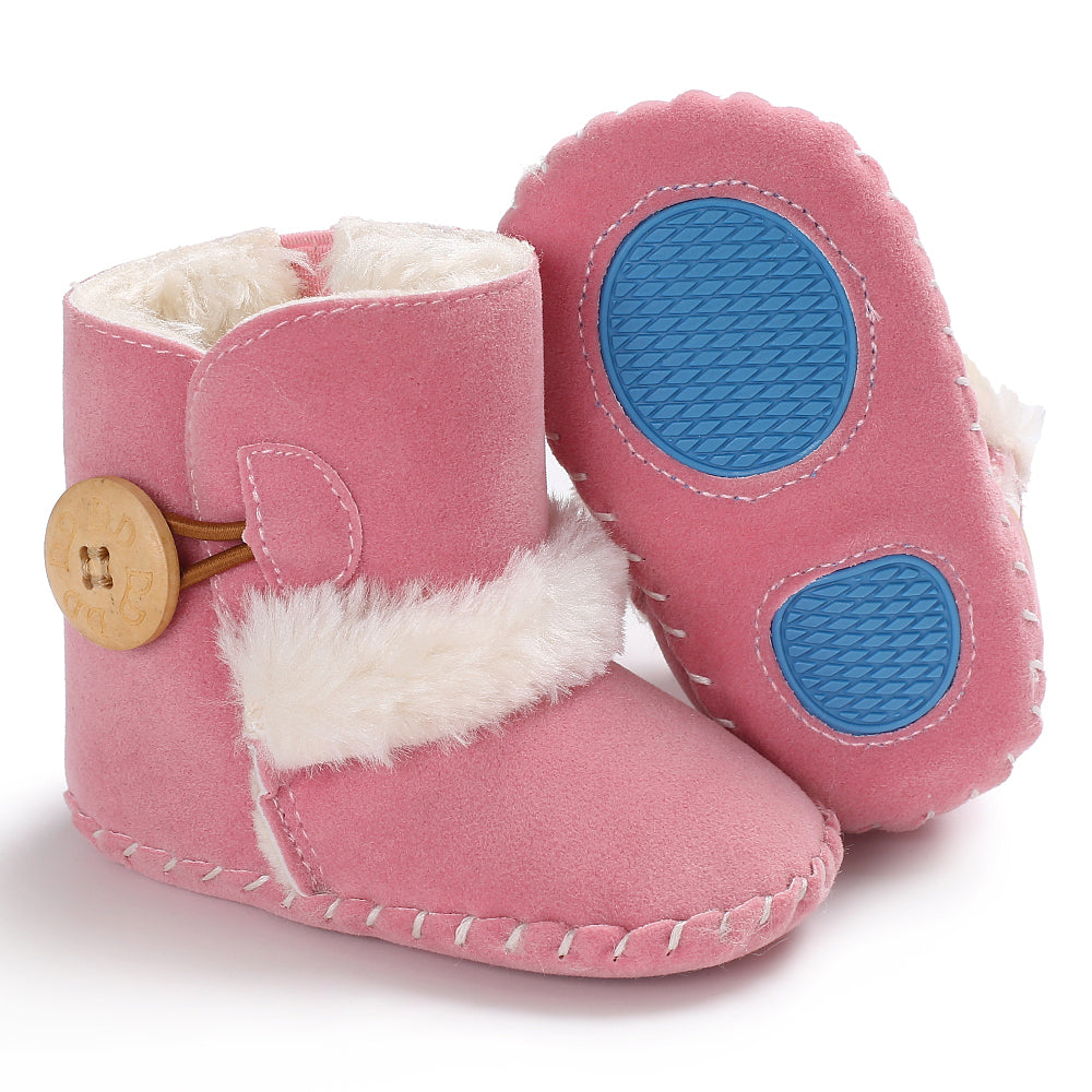 Baby furry button boots - BABY PINK (SIZE 0-6M)