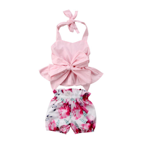 Halter neck floral outfit - (SIZES 0-3M & 3-6M)