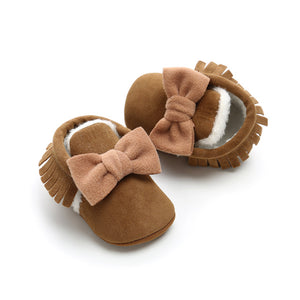Baby bow & tassel moccasin - 6 COLOURS (0-18M)