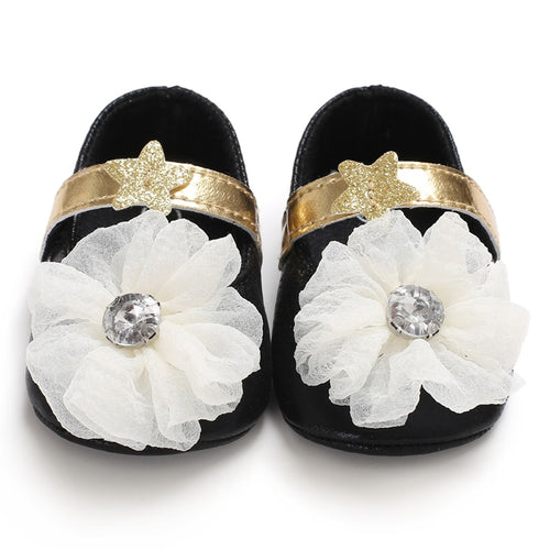 Baby flower shoes - 2 COLOURS (0-18M)