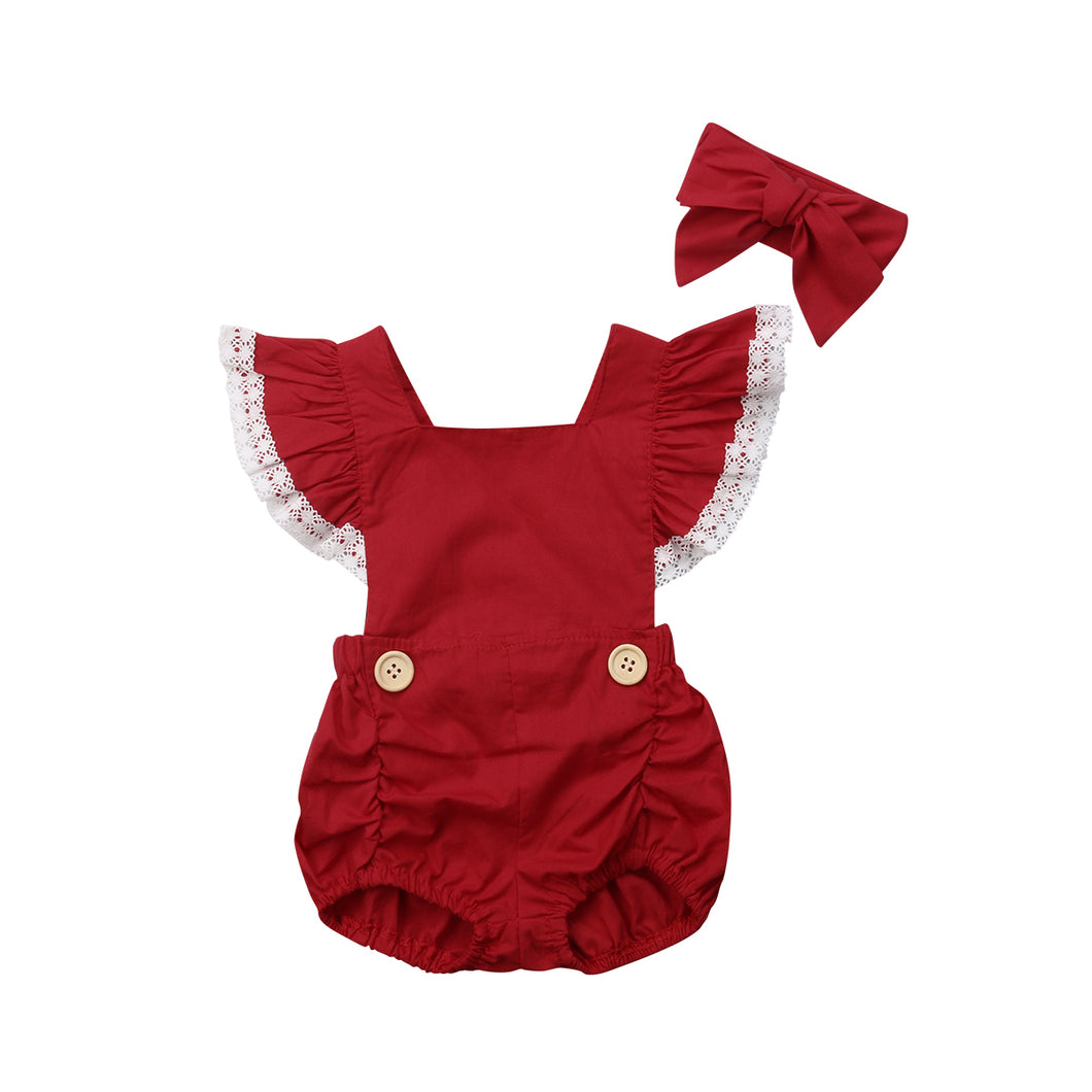 Summer red romper set - (SIZE 6-12M)