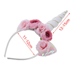 Unicorn floral headband - WHITE