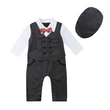 Load image into Gallery viewer, Frenchie tuxedo romper (3M-24M)