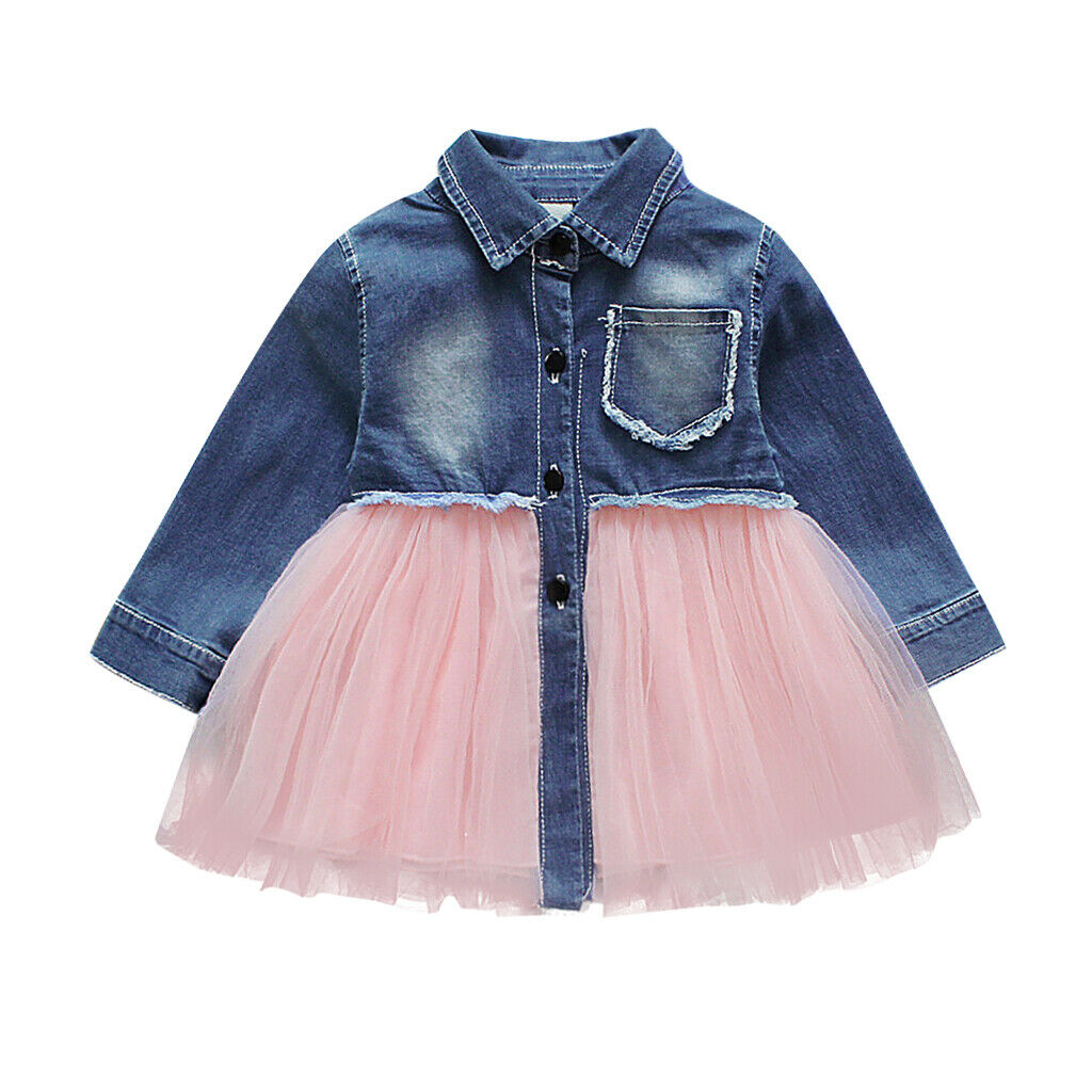 Long sleeve denim tutu dress (6M-3YR)