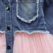 Load image into Gallery viewer, Long sleeve denim tutu dress (6M-3YR)