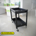 "Three Shelf Utility Cart - 32"" x 18"" x 36.5"" Rolling Tool Cart with wheels for Office Or Storage - 3 Shelf Black"