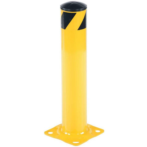 "Bollard Post - Steel Safety Barrier Protection- Yellow Powder Coat 4.5"" Diameter 24"" Tall"