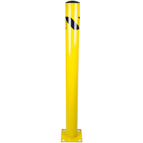"Bollard Post - Steel Safety Barrier Protection- Yellow Powder Coat 4.5"" Diameter 48"" Tall"