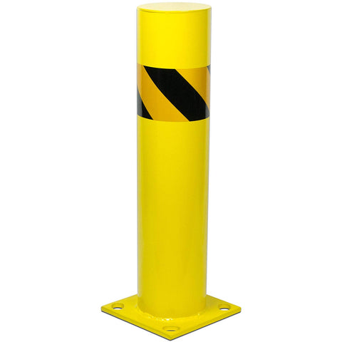 "Bollard Post - Steel Safety Barrier Protection- Yellow Powder Coat 5.5"" Diameter 24"" Tall"
