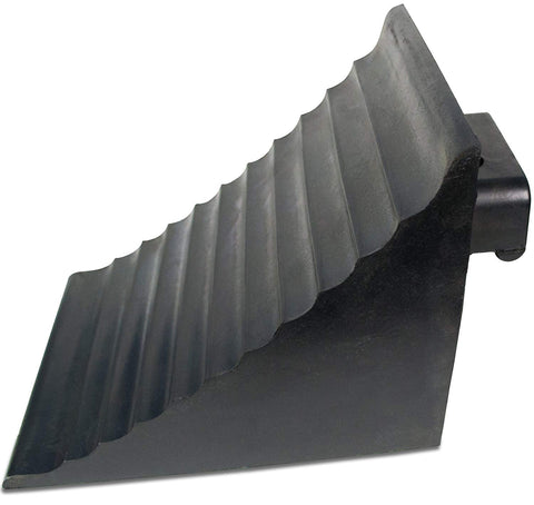 "Extra Large Wheel Chock Block with Handle - Heavy Duty - Black Rubber 9.6"" x 7"" x 7.5"""