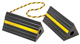 "Industrial Rubber Wheel Chock Blocks with Rope 9.6"" Wide, 5"" High"