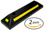 Heavy Duty Rubber Parking Guide Car Garage Wheel Stop Stoppers - 2 Pack Professional Grade