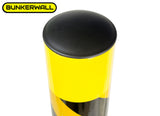 "Bollard Post - Steel Safety Barrier Protection- Yellow Powder Coat 4.5"" Diameter 36"" Tall"