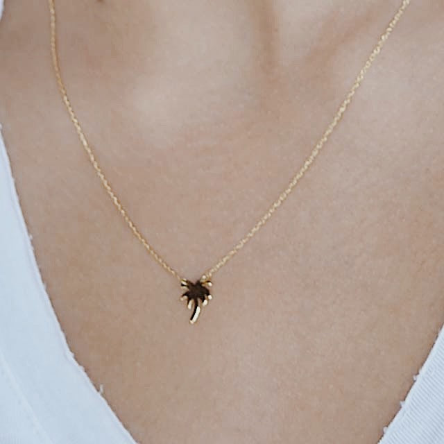 Palm Tree Necklace | 14kt Gold