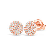 Round Micro Pave Diamond Earrings | 14kt Gold