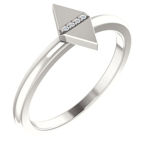 Geo Diamond Sterling Silver Ring