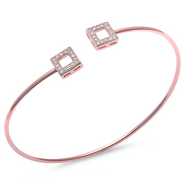 CZ Open Square Bangle